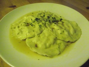 Chicken and Feta Ravioli with Thyme and Brown Butter Sauce