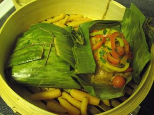 Salmon Steamed in Banana Leaves