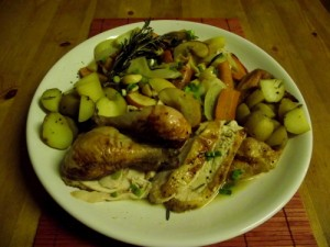 Roasted Chicken with Rosemary, Apple & Onion Pan Stew