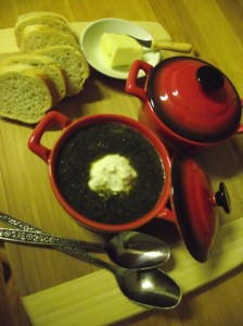 Stinging Nettle Soup with Minted Sour Cream