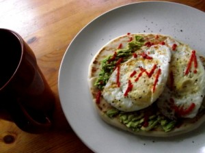 Spicy Egg & Naan Breakfast with Avocado