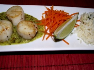 Scallops with Ginger Lime Cilantro Sauce