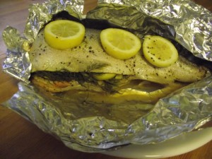Whole BBQ Salmon with Lemon and Dill Sauce