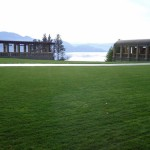 The Mission Hill Estate grounds and view of Okanagan Lake