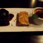 Sticky toffee pudding, baklava, cream brule