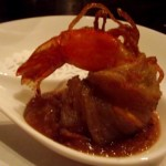Potato wrapped prawn with quince chutney