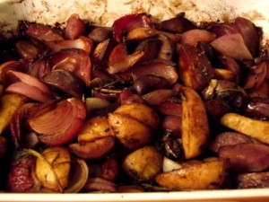 Balsamic Roasted potatoes and onions