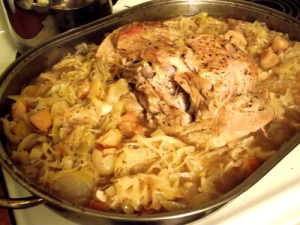 Sauerkraut Roasted Pork with Apples